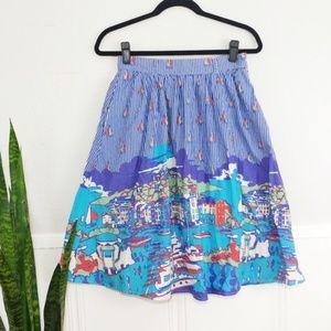 Modcloth Dockside Delight Blue Pleated Full Skirt